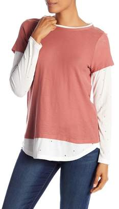 Vince Camuto Distressed Media Long Sleeve Tee