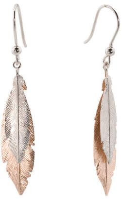 Made In Italy Two Tone Sterling Silver Feather Earrings