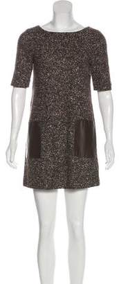 Tibi Leather Panel Knit Dress