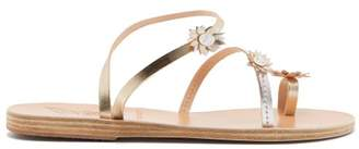 Ancient Greek Sandals - X Fabrizio Viti Sheila Leather Sandals - Womens - Silver Gold