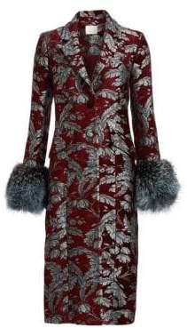 Cinq à Sept Embroidered Jacquard Fur-Trim Coat