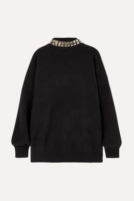 Alexander Wang Studded Wool-blend Turtleneck Sweater - Black
