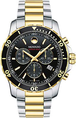 Movado 2600146 Men's Series 800 Chronograph Date Bracelet Strap Watch, Silver/Gold