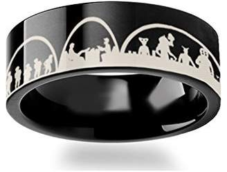 Star Wars Thorsten Rings Mos Eisley Cantina A New Hope Greedo and Han Solo Polished Black Tungsten Carbide Wedding Band Engraved Jeweley Ring- 4mm 6mm 8mm 10mm 12mm