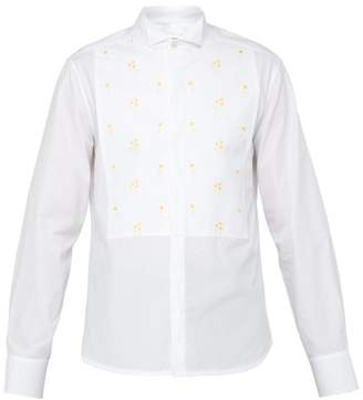 Wales Bonner Floral Embroidered Plastron Cotton Shirt - Mens - White