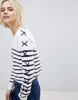 Suncoo Breton Stripe Sweater with Lacing