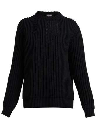 Calvin Klein Distressed Ribbed Knit Sweater - Womens - Black