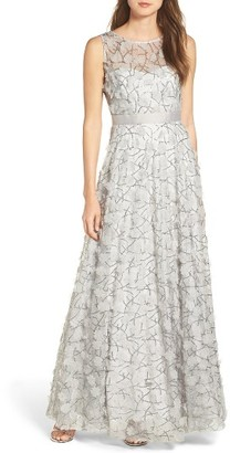 Women's Eliza J Embellished Mesh Ballgown $348 thestylecure.com