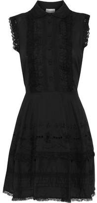 RED Valentino Lace-Trimmed Broderie Anglaise Cotton Mini Dress