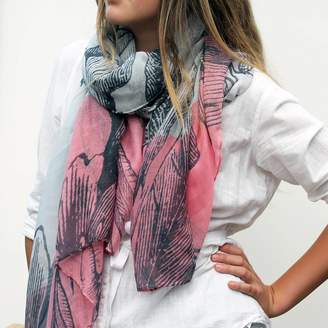 Hearth & Heritage Personalised Two Tone Print Scarf With Botanical Design