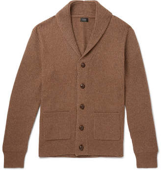 J.Crew Slim-Fit Shawl-Collar Ribbed Merino Wool-Blend Cardigan - Brown