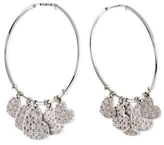 Christian Dior 18K Diamond Heart Hoop Earrings