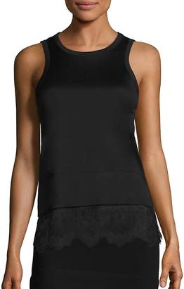 Carven Women's Lace Bottom Cotton Tank
