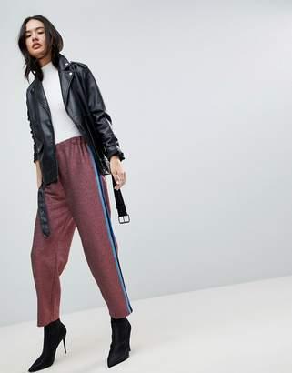 Asos DESIGN Glitter Track PANTS with Side Stripe