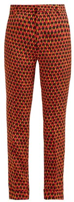 La DoubleJ Geometric Print Cropped Capri Trousers - Womens - Red Print