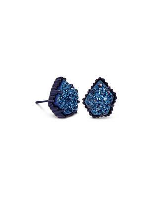 Kendra Scott Tessa Navy Gunmetal Stud Earrings in Blue Drusy