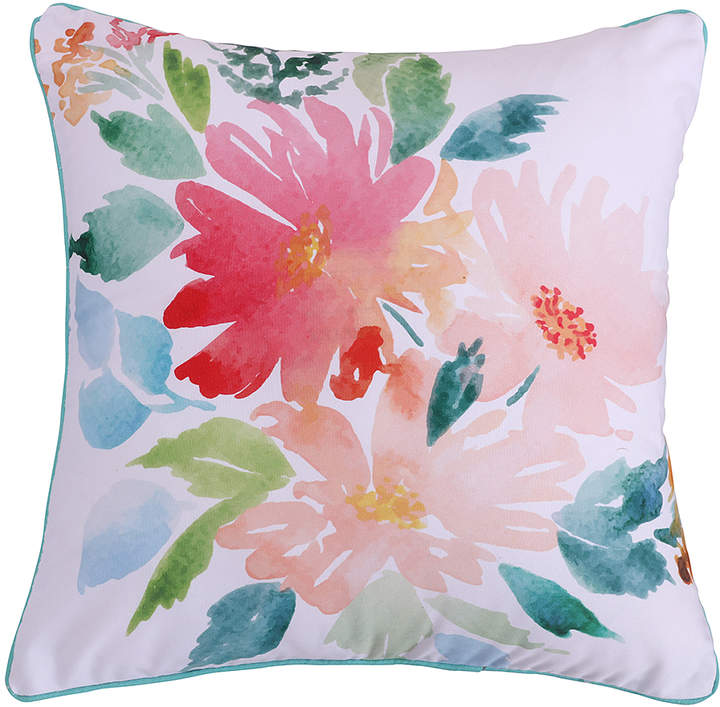 White Floral Throw Pillow