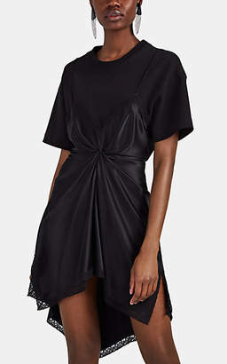 Alexander Wang Women's Satin Slip & Jersey T-Shirt Dress - Black