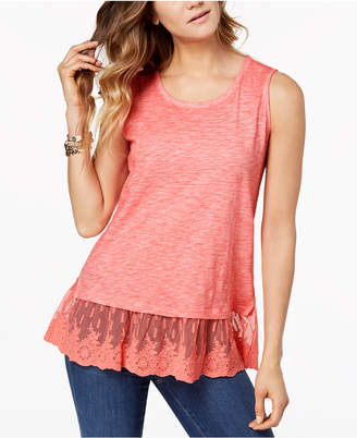 Style&Co. Style & Co Embroidered-Hem Tank Top, Created for Macy's