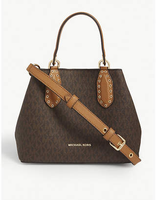 MICHAEL Michael Kors Brooklyn logo small leather satchel bag