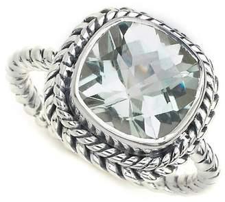Samuel B Jewelry Sterling Silver Cushion Cut Green Amethyst Twisted Shank Ring