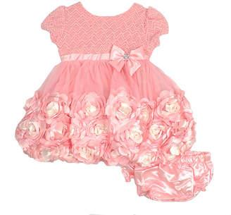 Nanette Baby Short Sleeve Texture Rosette MeshDress - Baby Girls