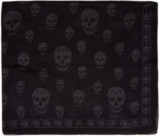 Alexander McQueen Black and Grey Skull Scarf