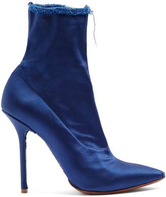 Vetements Raw-edge satin ankle boots