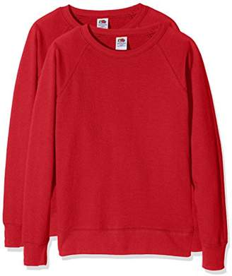 Fruit of the Loom Women's Ladies Lightweight Raglan Sweatshirt (Pack of 2),S