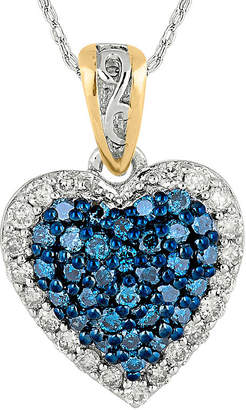 FINE JEWELRY 1/3 CT. T.W. White and Color-Enhanced Blue Diamond Heart Pendant Necklace