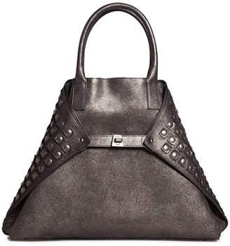 Akris Ai Medium Grid-Studded Top-Handle Bag