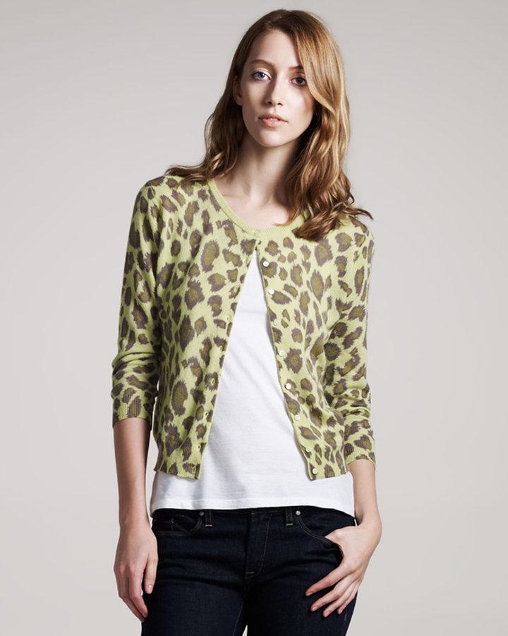 Autumn Cashmere Leopard-Print Cashmere Cardigan