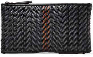 Ermenegildo Zegna Pelle Tessuta Leather Sunglasses Case - Men - Black