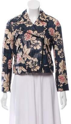 Elizabeth and James Leather Floral Print Jacket