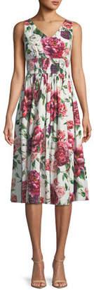 Dolce & Gabbana Sleeveless V-Neck Smocked-Waist Rose-Print Cotton Poplin Dress