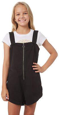 Billabong New Girls Kids Girls Eventide Playsuit Cotton Fitted Black