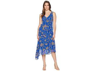 Taylor Asymmetrical Ruffle V-Neck Paisley Print Dress Women's Dress