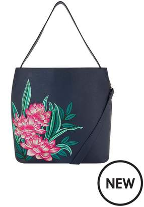 Accessorize Embroidered Hobo Bag - Navy