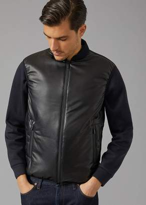 Giorgio Armani Down Padded Jacket With Leather Front