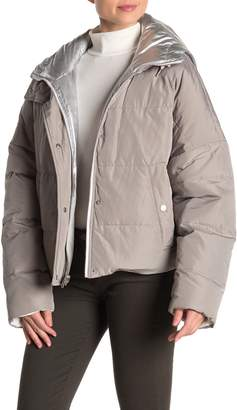 Andrew Marc Reversible Foil Chevron Hooded Down Puffy Jacket