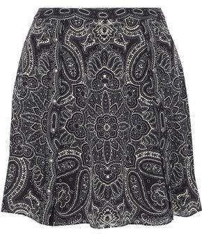 Haute Hippie Studded Printed Silk-Chiffon Mini Skirt