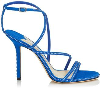 Jimmy Choo DUDETTE 100 Electric Blue Suede Open Toe Sandal with Hotfix Jewel Trim