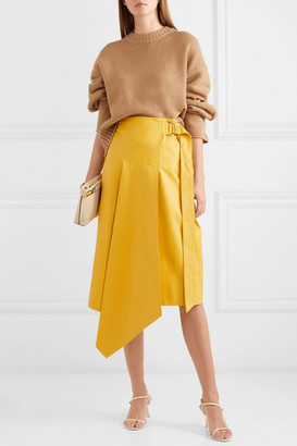 Tibi Tissue Asymmetric Leather Midi Skirt - Yellow