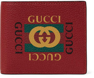 Gucci Printed Full-Grain Leather Billfold Wallet - Men - Red