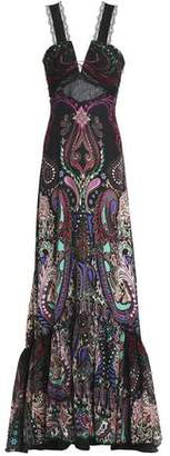 Roberto Cavalli Lace-Up Lace-Paneled Printed Silk Gown