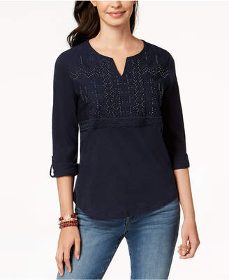 Style&Co. Style & Co Embellished Split-Neck Top, Created for Macy's