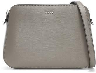 DKNY Bryant Warm Grey Textured Leather Center Zip Cross-Body Bag