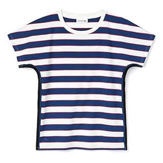 Lacoste Women's Short Sleeve Crewneck All Over Stripes TEE-Shirt