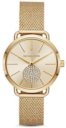 Michael Kors Gold-Tone Portia Mesh Bracelet Watch, 37mm