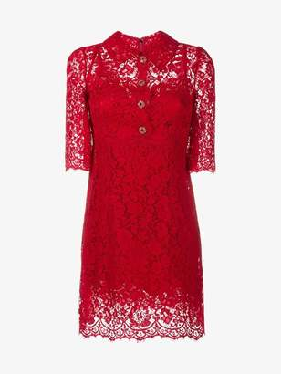 Dolce & Gabbana floral lace button-up dress